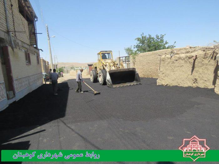 اجرای عملیات آسفالت در قسمت هایی از بلوار برهان الدین( کوچه ۱۵ و خیابان میانی بوستان معراج)